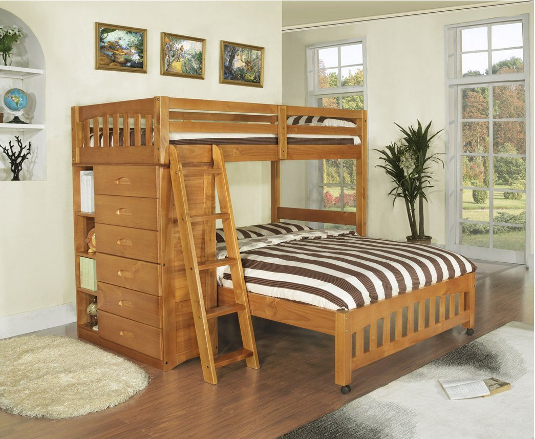 Amazon.com: Bunk Bed With Bookshelves And Storage Twin/Full L Shaped Kids  Toddler Bedroom Furniture Solid Wood: Kitchen U0026 Dining