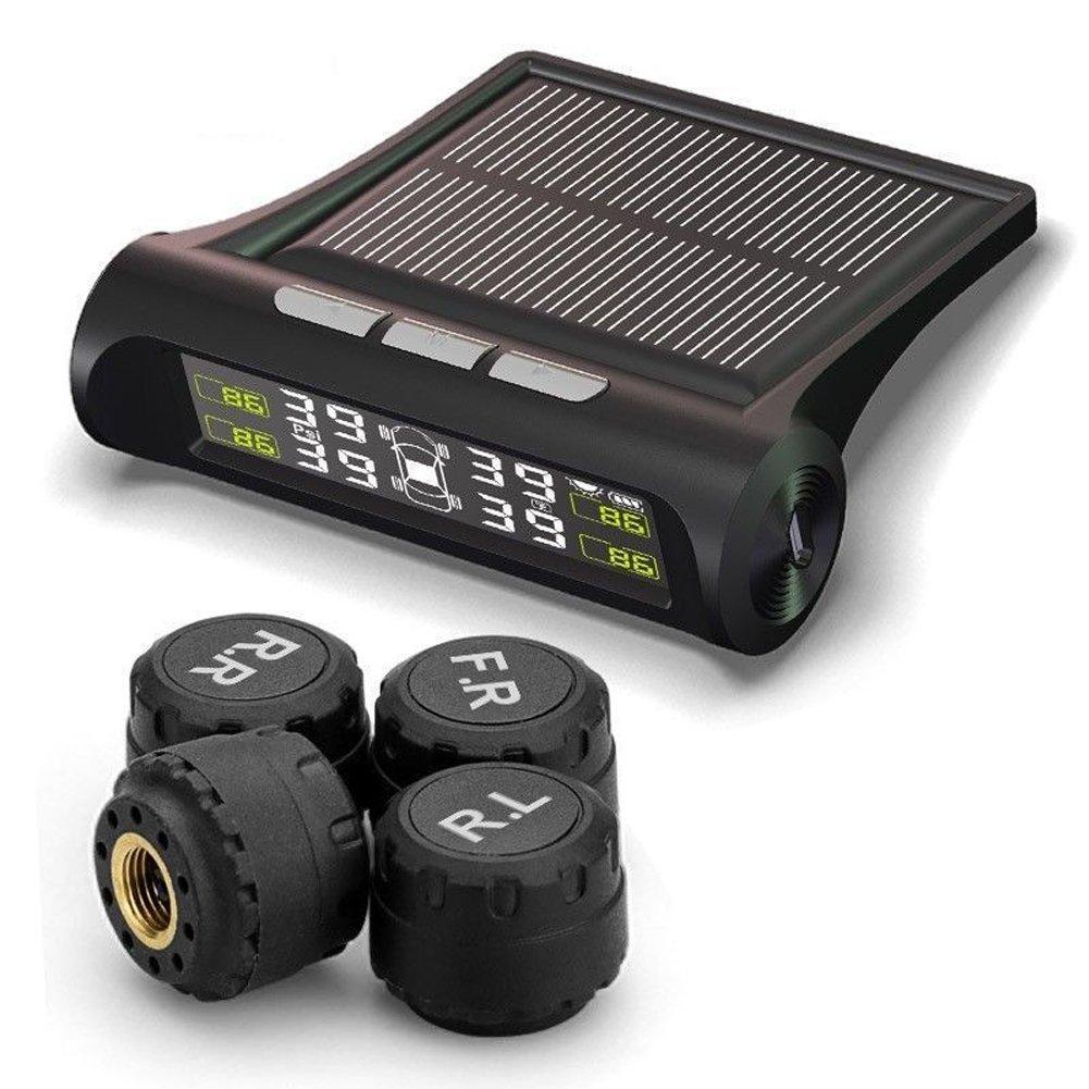 Sistema di monitoraggio della pressione dei pneumatici auto LCD, solare senza fili TPMS sistema di monitoraggio della pressione dei pneumatici auto LCD + 4 sensori esterni 75*75*26mm Come da immagine Xpccj