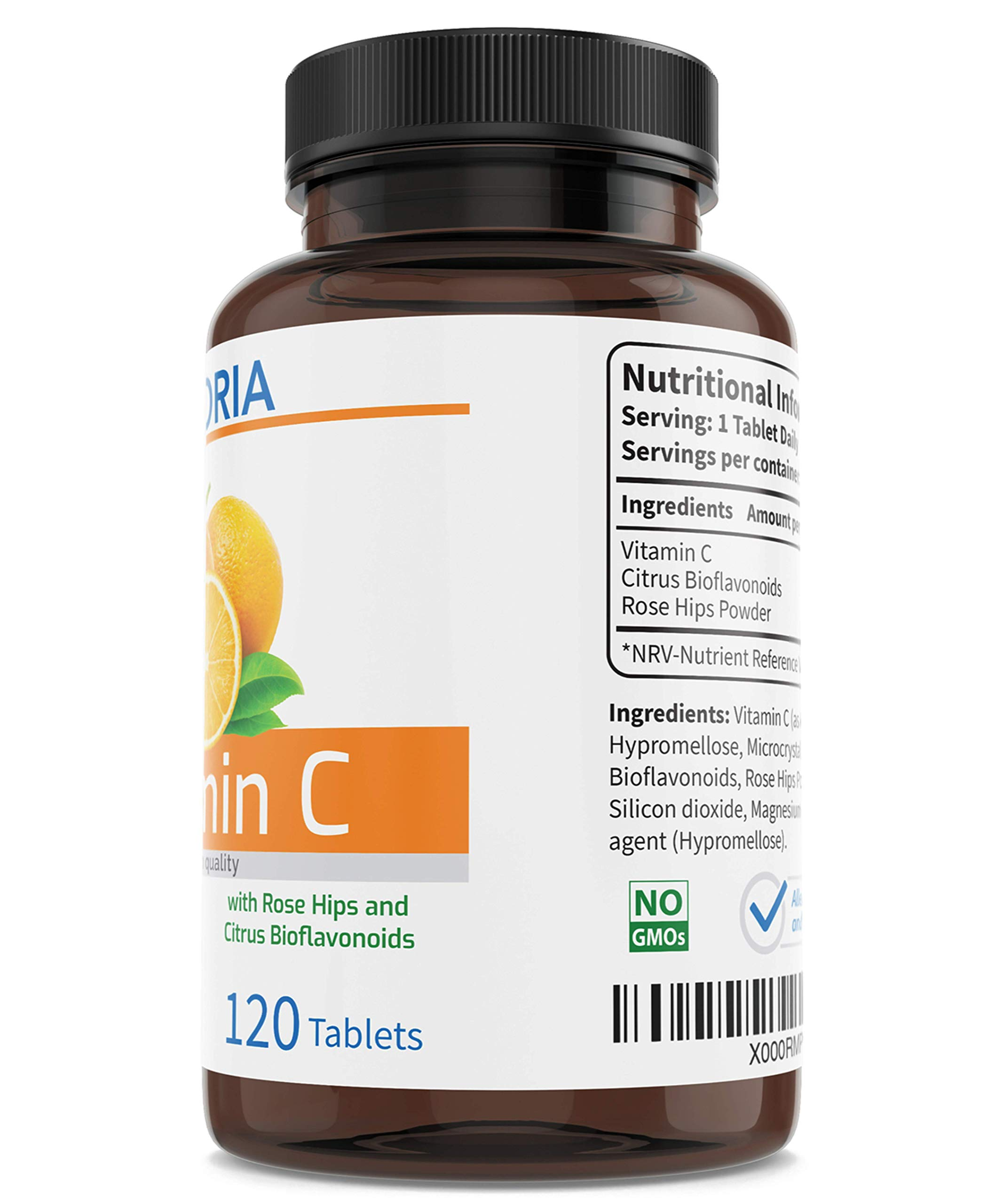 Vitamin C with Citrus Bioflavonoids and Rose Hips General Health and Wellbeing Antioxidant Immune Health Skin Teeth Gums & Joints Reduction in Tiredness and Fatigue Vegan 1000 mg 120 Tablets - UK Made
