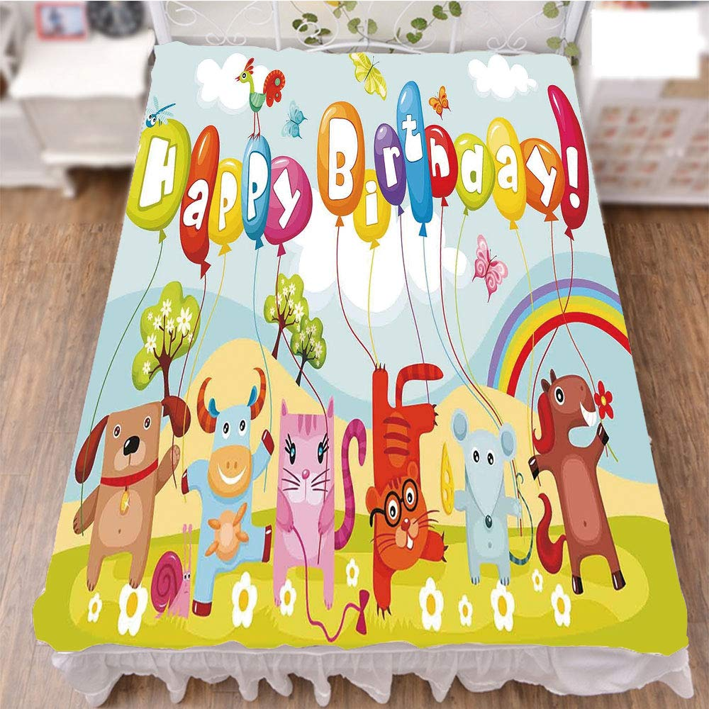 iPrint Bedding Bed Ruffle Skirt 3D Print,Farm Life Animals Balloons Rainbow Clouds Village,Fashion Personality Customization adds Color to Your Bedroom. by 70.9''x78.7''