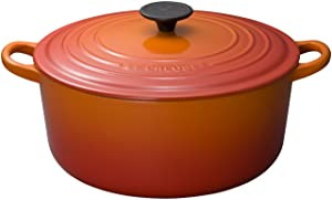 Enameled Cast Iron Round French Oven Color: Flame, Size: 7.25-qt.