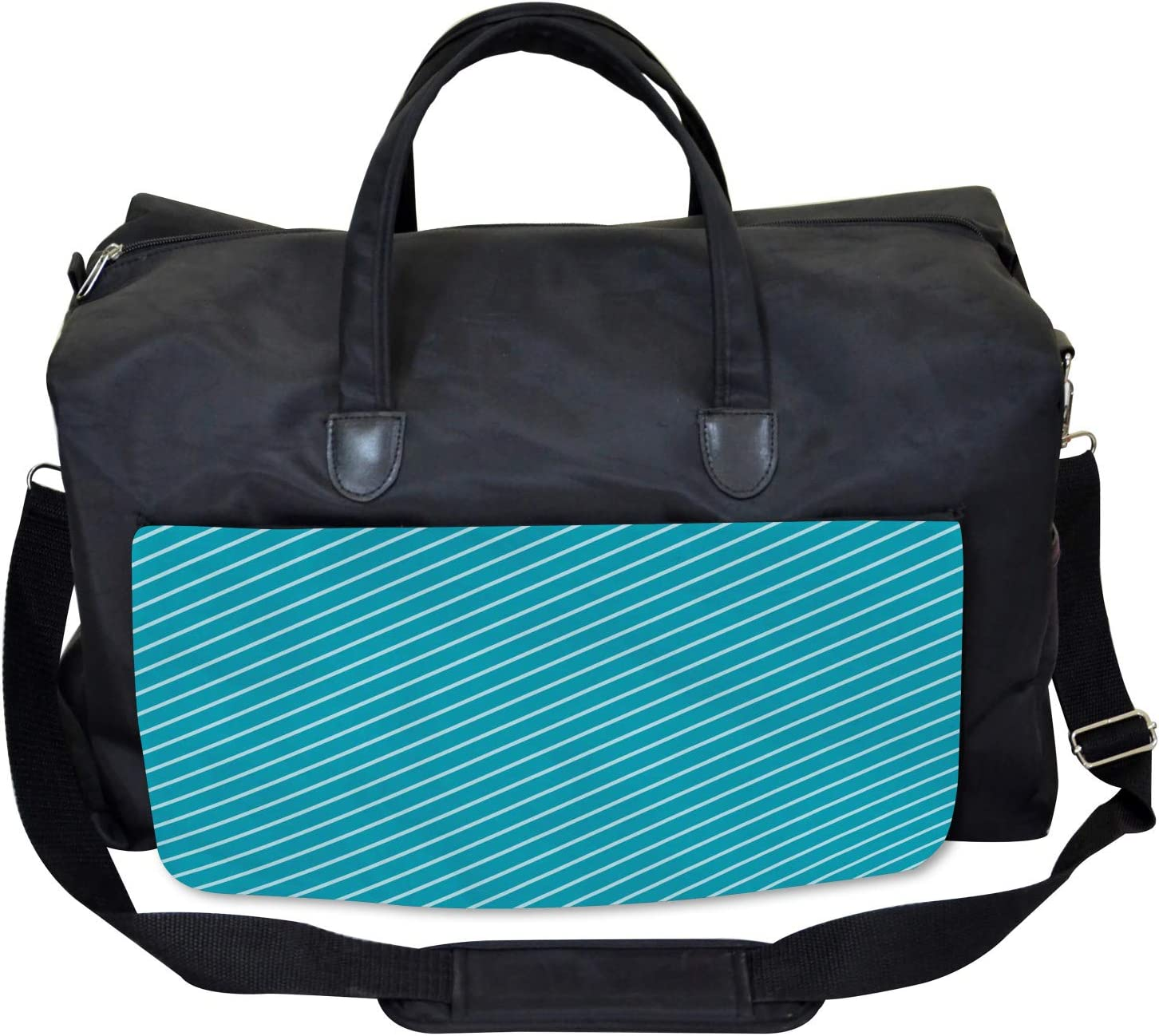 Striped Cruise Colors Large Weekender Carry-on Ambesonne Geometric Gym Bag