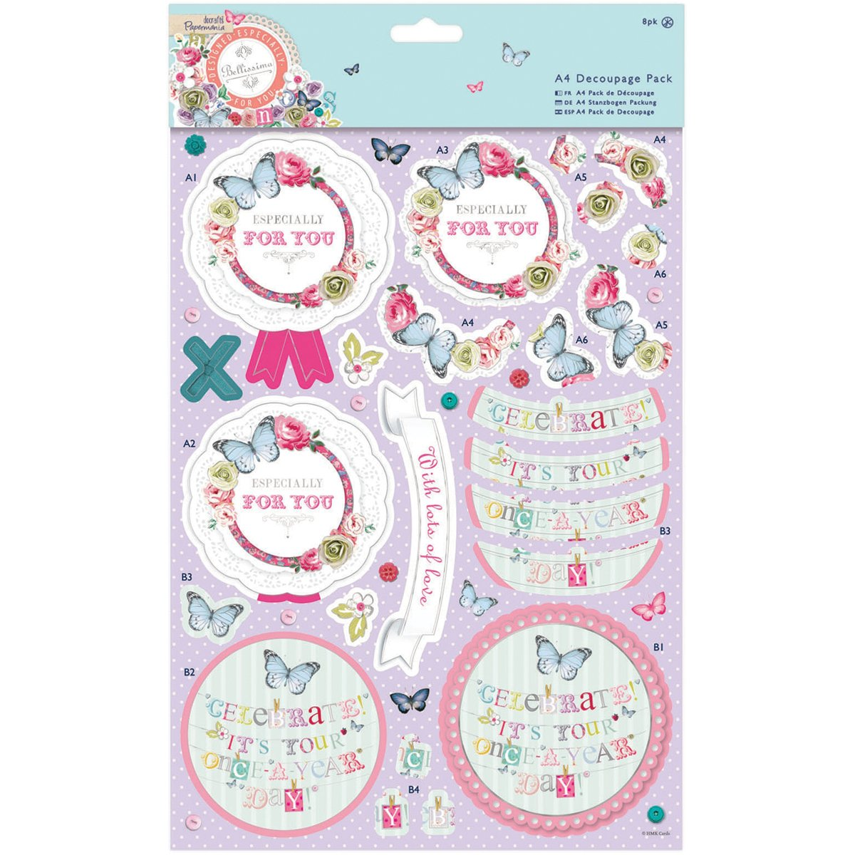 docrafts Papermania Bellissima Foiled A4 Decoupage Pack, Mum