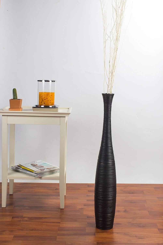 Leewadee Grande Vaso da Terra per Rami Decorativi Vaso Alto da Interno 75 cm Legno di Mango Nero