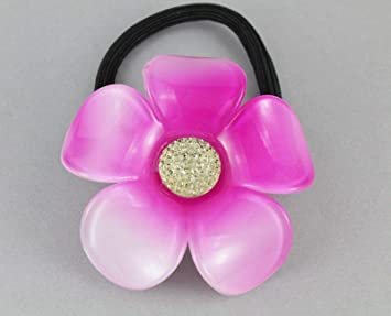 Amazon.com   Pink flower ponytail holder plumeria floral stretch elastic  pony tail cover   Beauty 4a9bbba2d88