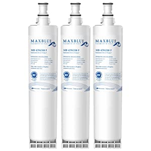 Max blue NSF 53&42 Certified 4396508 Refrigerator Water Filter, Replacement for Whirlpool EDR5RXD1, EveryDrop Filter 5, PUR W10186668, NLC240V, 4396510, 4396508P, 4392857, Kenmore 46-9010 (Pack of 3)
