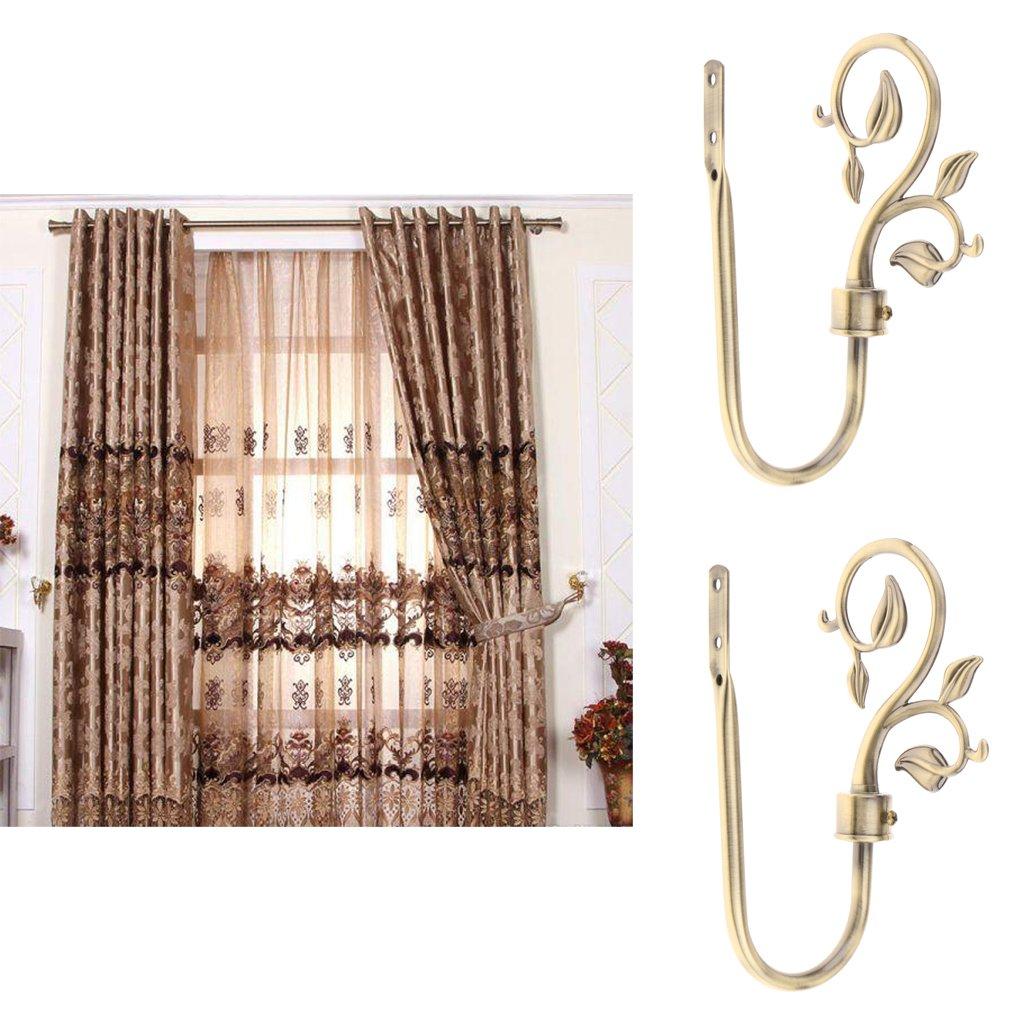 MonkeyJack 2x Tree Vine Leaf Design Metal Curtain Hooks Window Drapery Holder Tieback Holdback Hanger for Home Decor Bronze