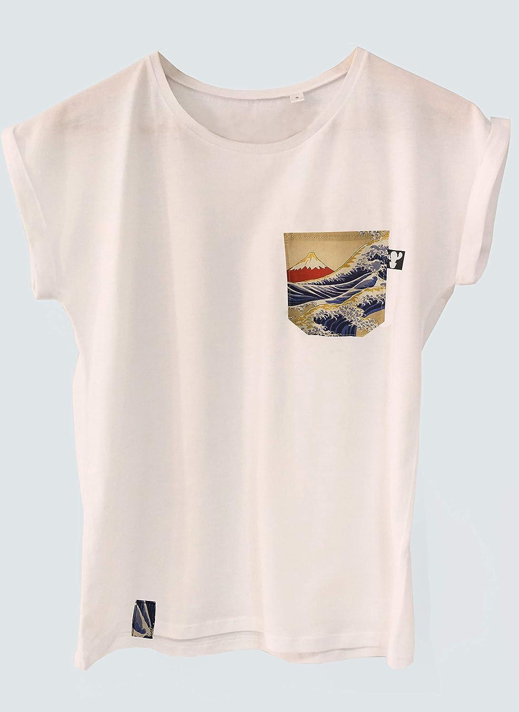Camiseta kanagawa wave con tela japonesa para mujer: Amazon.es: Handmade