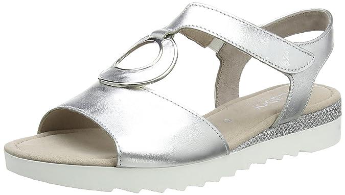 Gabor Shoes Comfort, Sandales Bout Ouvert Femme, Argent (Silber Glamour), 39 EU