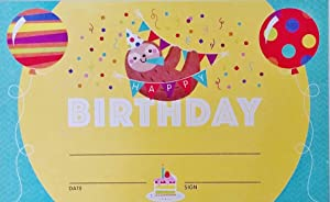 Pack Set of Happy Birthday Certificates with Party Sloth - Personalize Classroom Recognition for Kids Children School Teacher Homeschool Daycare Chart Decoration