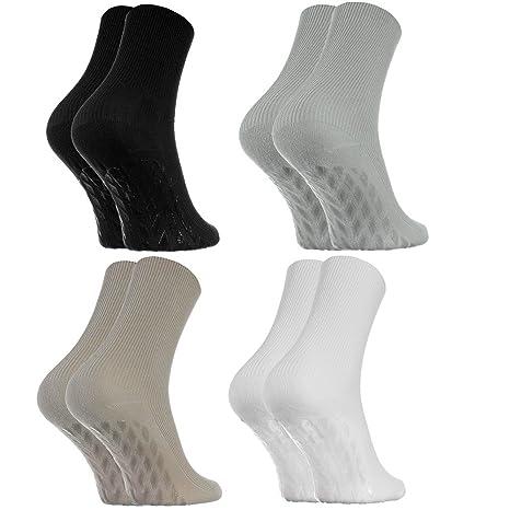 4 pares de Calcetines Antideslizantes, SIN ELÁSTICOS para Diabéticos, Negro Blanco talla 39-