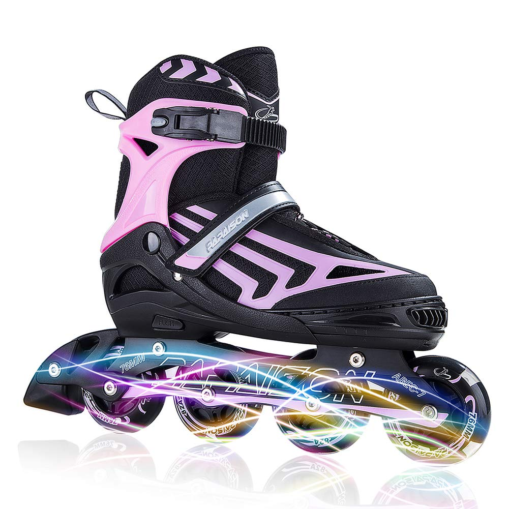 ITurnGlow Kids and Adults Adjustable Inline Skates with Full Light Up Wheels, Safe and Smooth Beginner Rollerblades for Girls and Boys, Men and Women