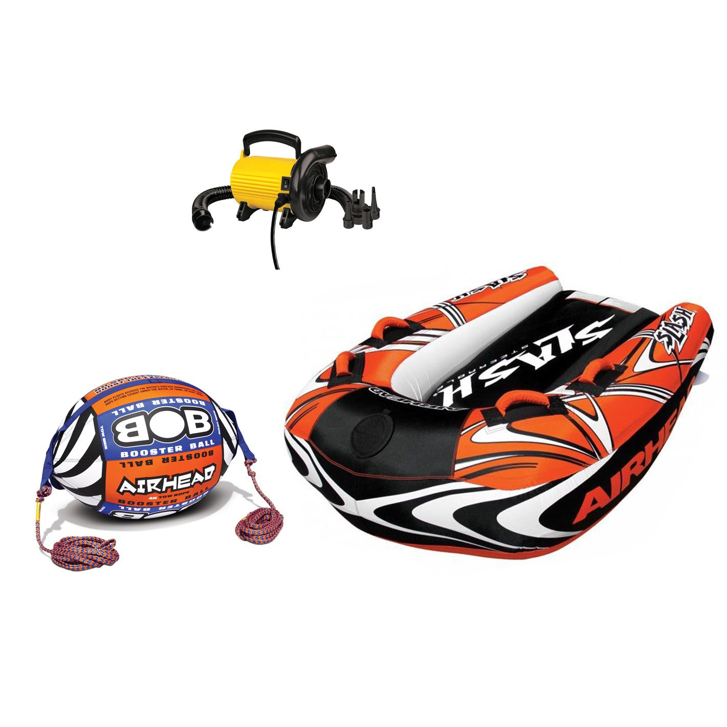 Airhead Inflatable Boat Towable Tube w/Bob Tow Rope and 110V Electric Pump