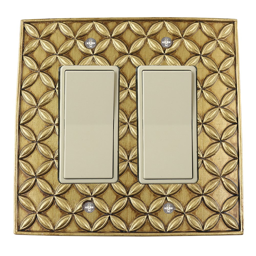 Meriville Colfax Double Switch 2 Rocker Electrical Cover Plate Wallplate, Antique Gold