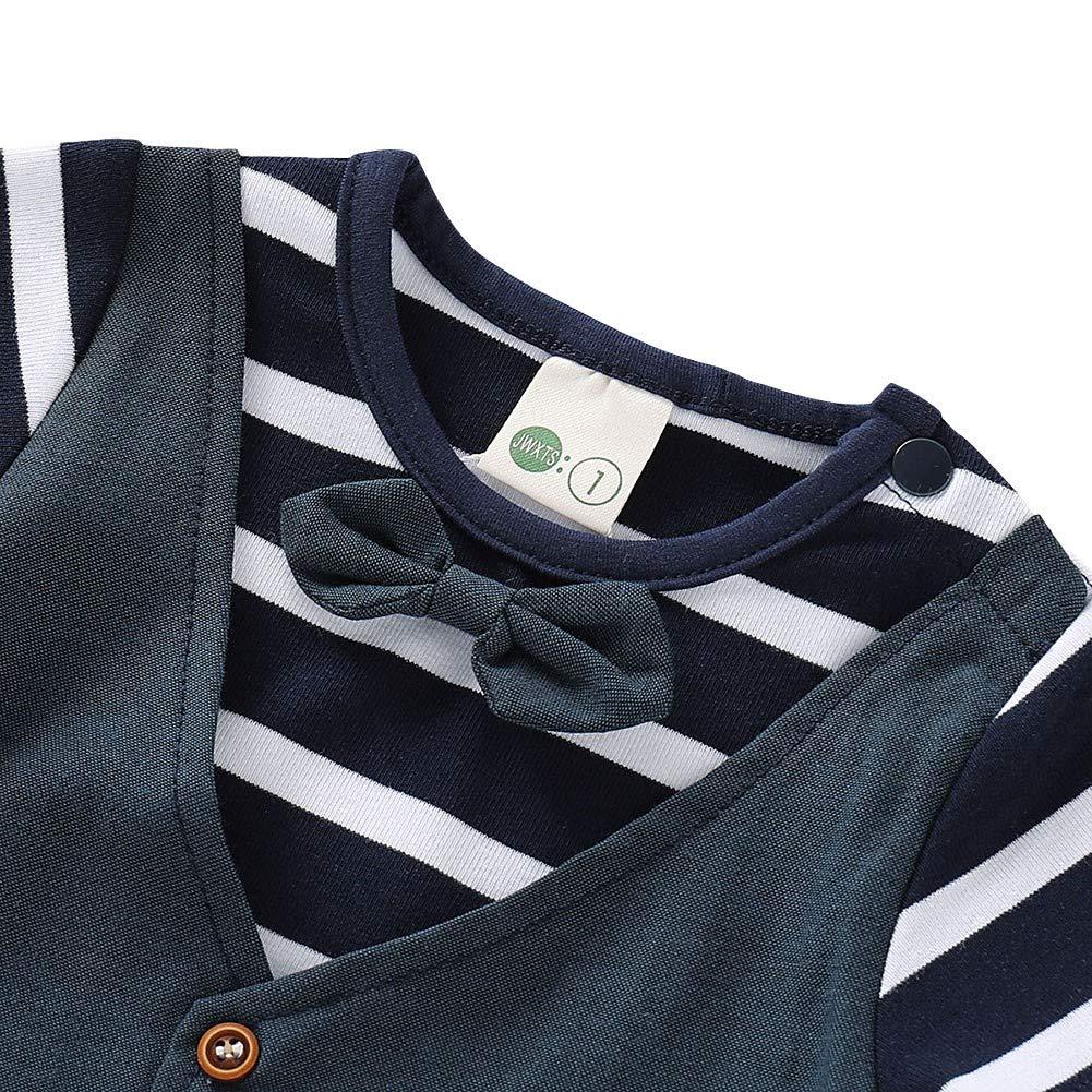 MiyaSudy Newborn Baby Jumpsuit Infant Boy Stripe Print Short Sleeve Gentlemen Rompers Bow Vest Kids Bodysuit Clothes
