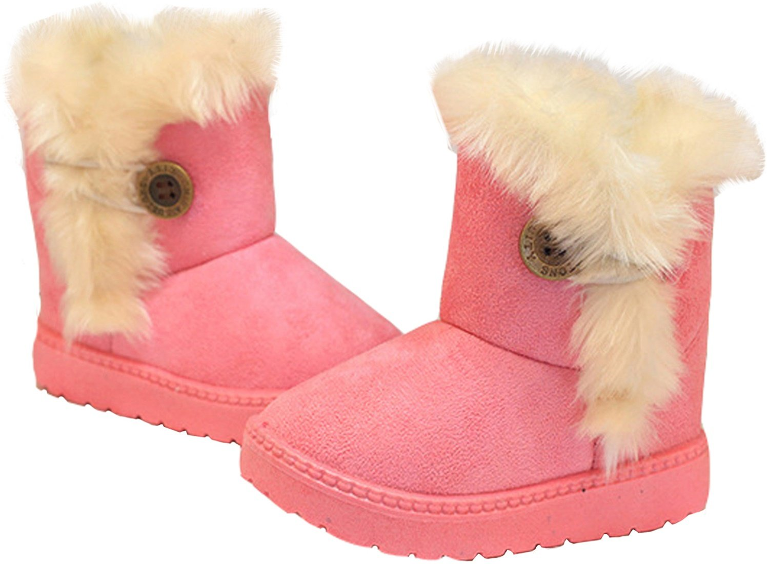 PPXID Baby's Girl's Boy's Lovely Flat Button Winter Warm Snow Boots(Toddler/Little Kid)-Pink 12 US Size