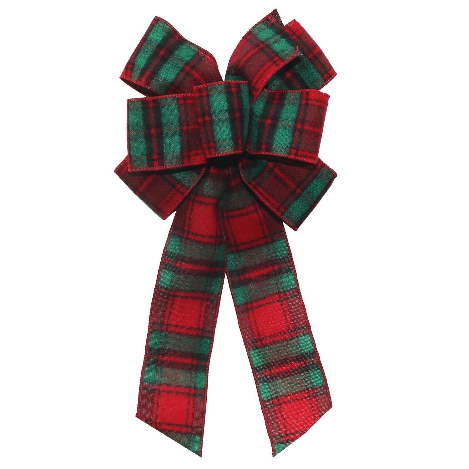 St. Nicks Choice 8'' x 16'' Decorative Red and Green Plaid 6 Loop Wool Christmas Bow Decoration