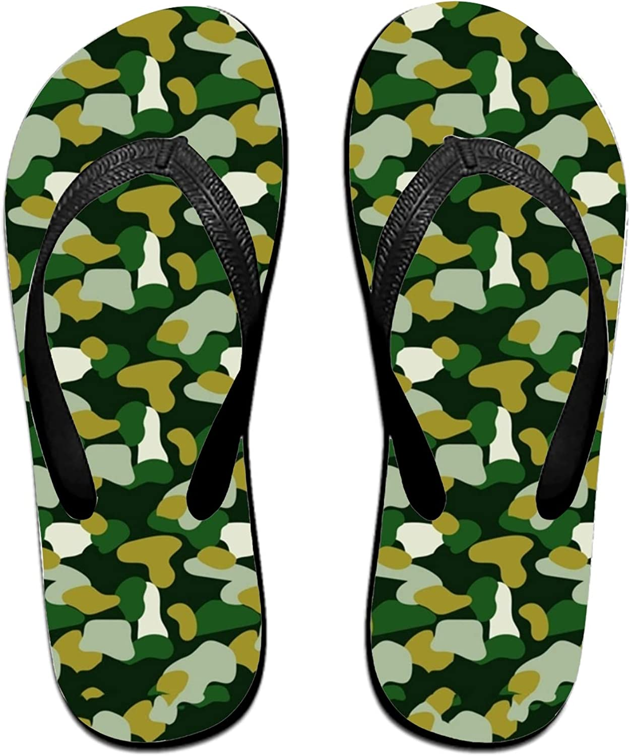 Wendex Military Camouflage Green Mens Beach Flat Rubber Sandals Flip Flops