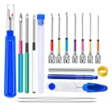 BAGERLA 18 Pieces Punch Needle Tool, Punch Needle Embroidery Kits, Cross Stitch Tools Kit, Big Seam Ripper, Scissors, Threader and Thimble for Embroidery Floss Poking Cross Stitching Beginners