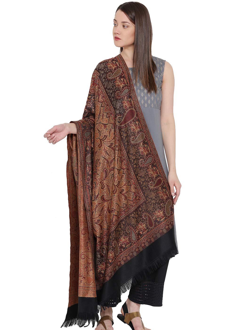 Weavers Villa Women's 100% Pashmina Wool Indian Handicraft Woven Shawls, Scarf and Wraps [Large Size: 40'' X 80'']