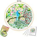 Embroidery Starter Kit with Peacock Pattern and Instructions, Embroidery kit for Beginners, Cross Stitch Set, Full Range…