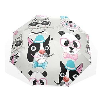 GUKENQ Hipster - Paraguas de Viaje Ligero para Perro o Gato con diseño de Panda y