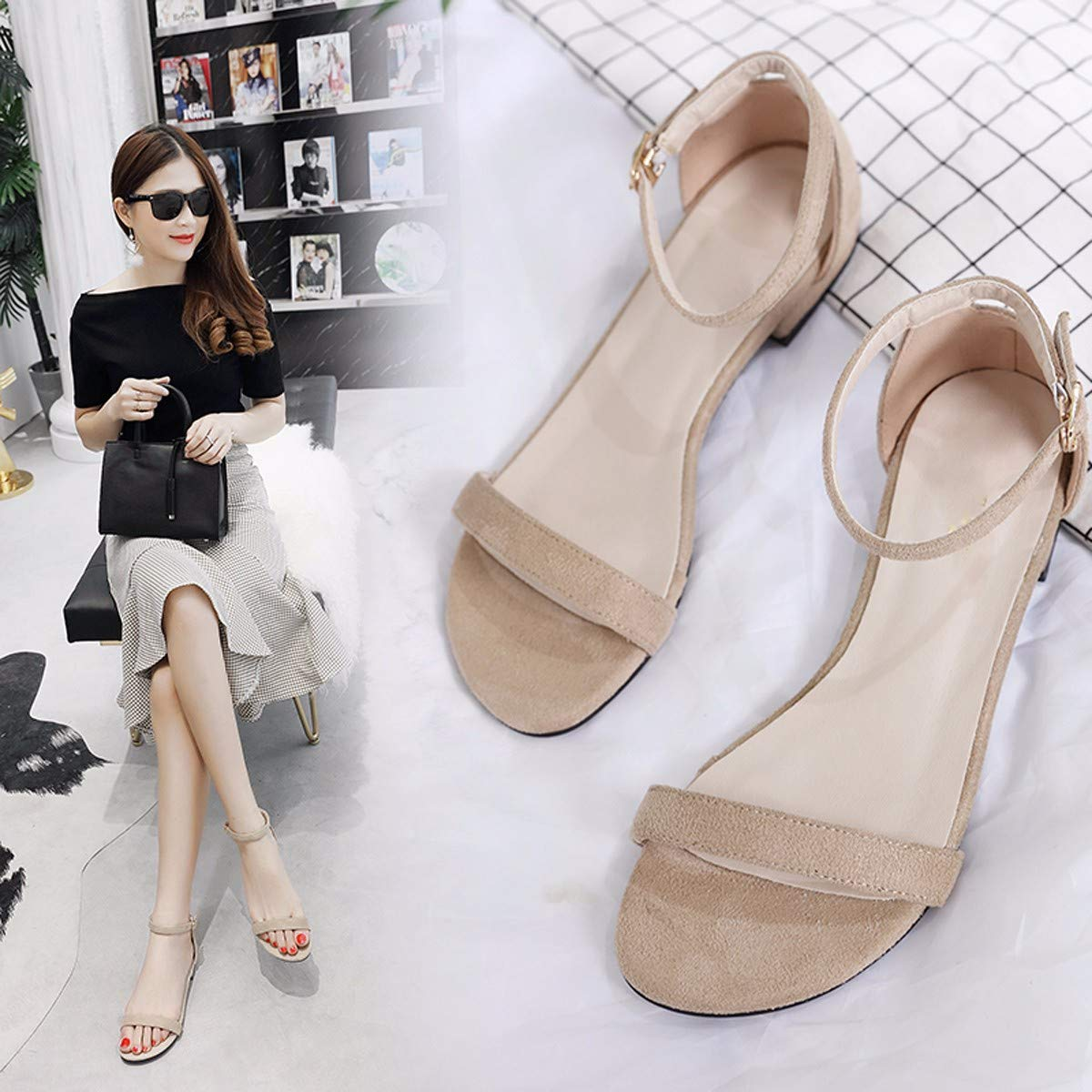 KPHY-Sandalen Mädchen Xia Ping Ping Ping Ping Ping Feen Einfache Wilde Studenten Schnallen.Forty-One Apricot Farbe a9807b