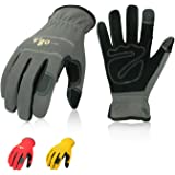Vgo 3Pairs Nubuck Leather Work Gloves (Size XXL,Red+Grey+Yellow,NB7581)
