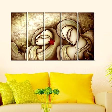 Wall Mantra 5 Panel Radha Krishna Sepia Wall Art Canvas Home ...