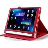 ELTD Lenovo Yoga Tab 3 Pro 10 custodia, Book-style Custodia Cover in pelle PU per Lenovo Yoga Tablet 3 Pro 10 con il sonno / sveglia la funzione, Rosso