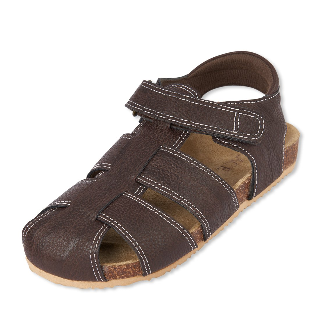 The Children's Place Boys' BB Fisherman SCO Flat Sandal, Brown, Youth 11 Medium US Big Kid by The Children's Place (Image #1)