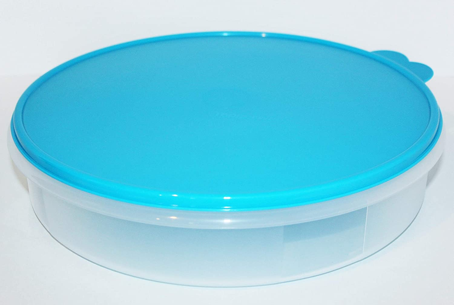 "Tupperware 12"" Pie Round Keeper Cake Taker Aqua Blue"