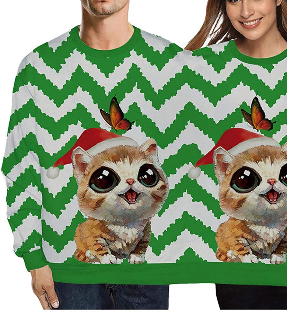 Holzkary Unisex Two Person Ugly Sweatershirts Xmas Couples Novelty Onesies Pullover Tops