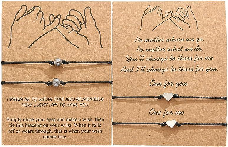 Jardme Pinky Promise Bracelet for 2 Adjustable Distance Matching Bracelets for Friends Couple Family