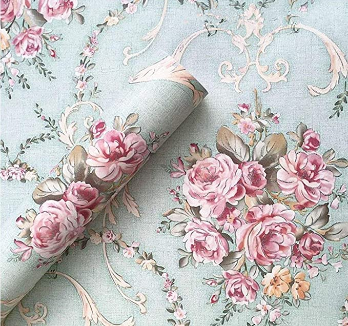Mint Rose Wallpaper Floral Peel and Stick Removable Roses Wallpaper Mural Flowers Self Adhesive Nursery Wallpaper Bedroom Wall Art KS18