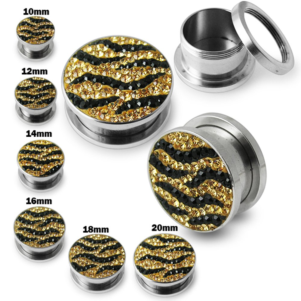 Black/Yellow Zebra Crystal stone Surgical Steel Flesh Tunnel Body jewelry by Tunnel-Plug-Taper (Image #1)