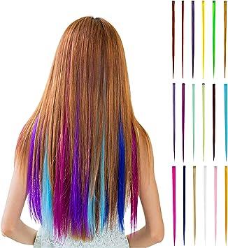18 extensiones de pelo arco iris, resistentes al calor, para fiestas, pelucas de colores, accesorios de peinado para mujeres, niños y niñas, 55 cm ...