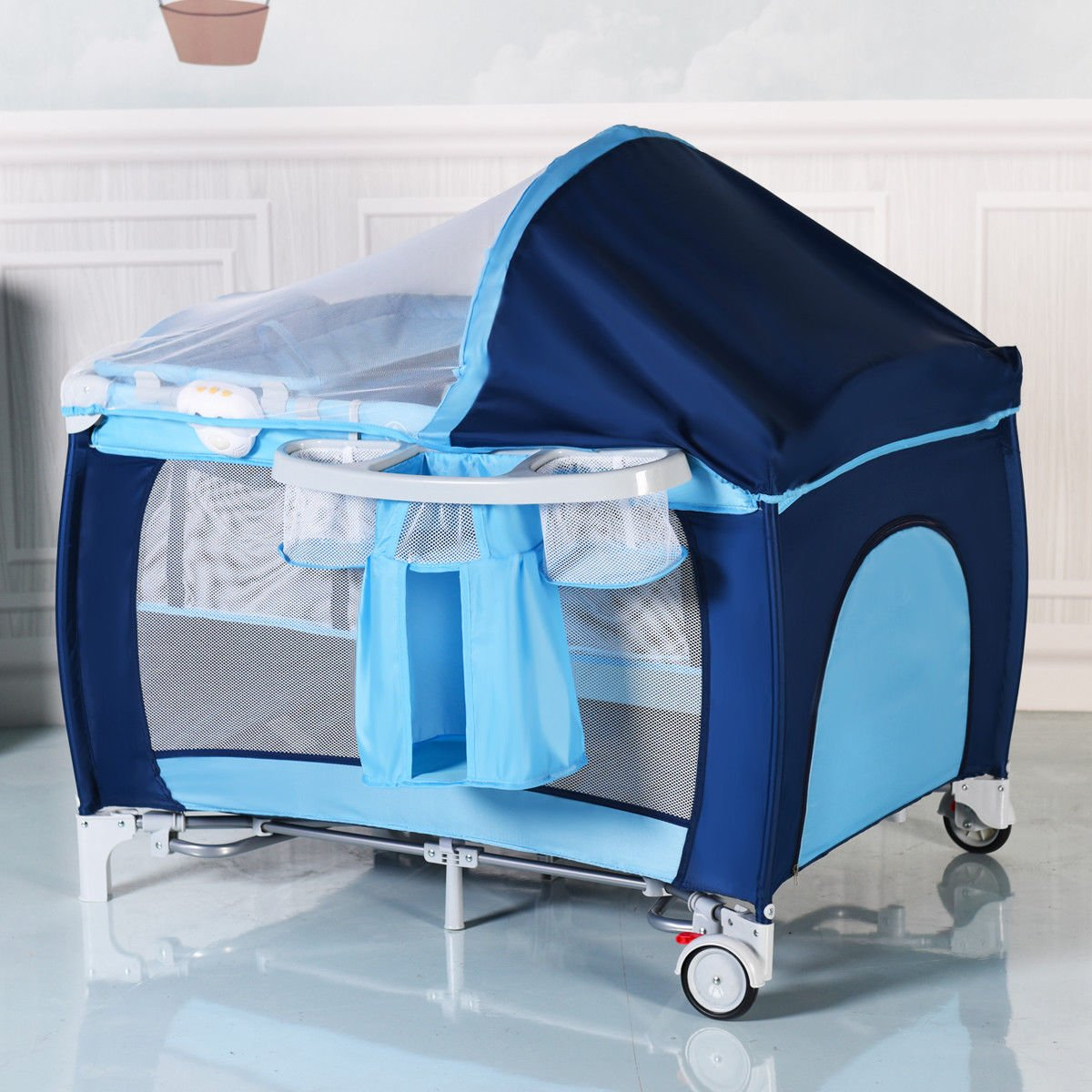 New Foldable Baby Crib Playpen Travel Infant Bassinet Bed Mosquito Net Music w Bag by Costway (Image #2)