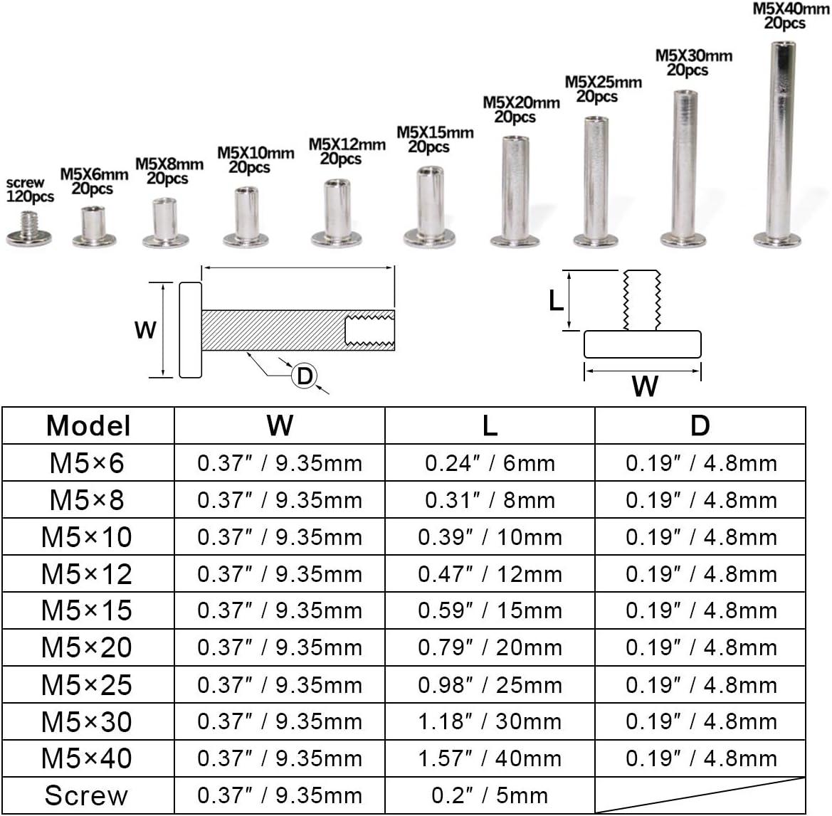 M515(20pcs) 20Pcs Nickle Plated Snap Rivet Binding Screw for Book Butt Photo Album M515 Practical