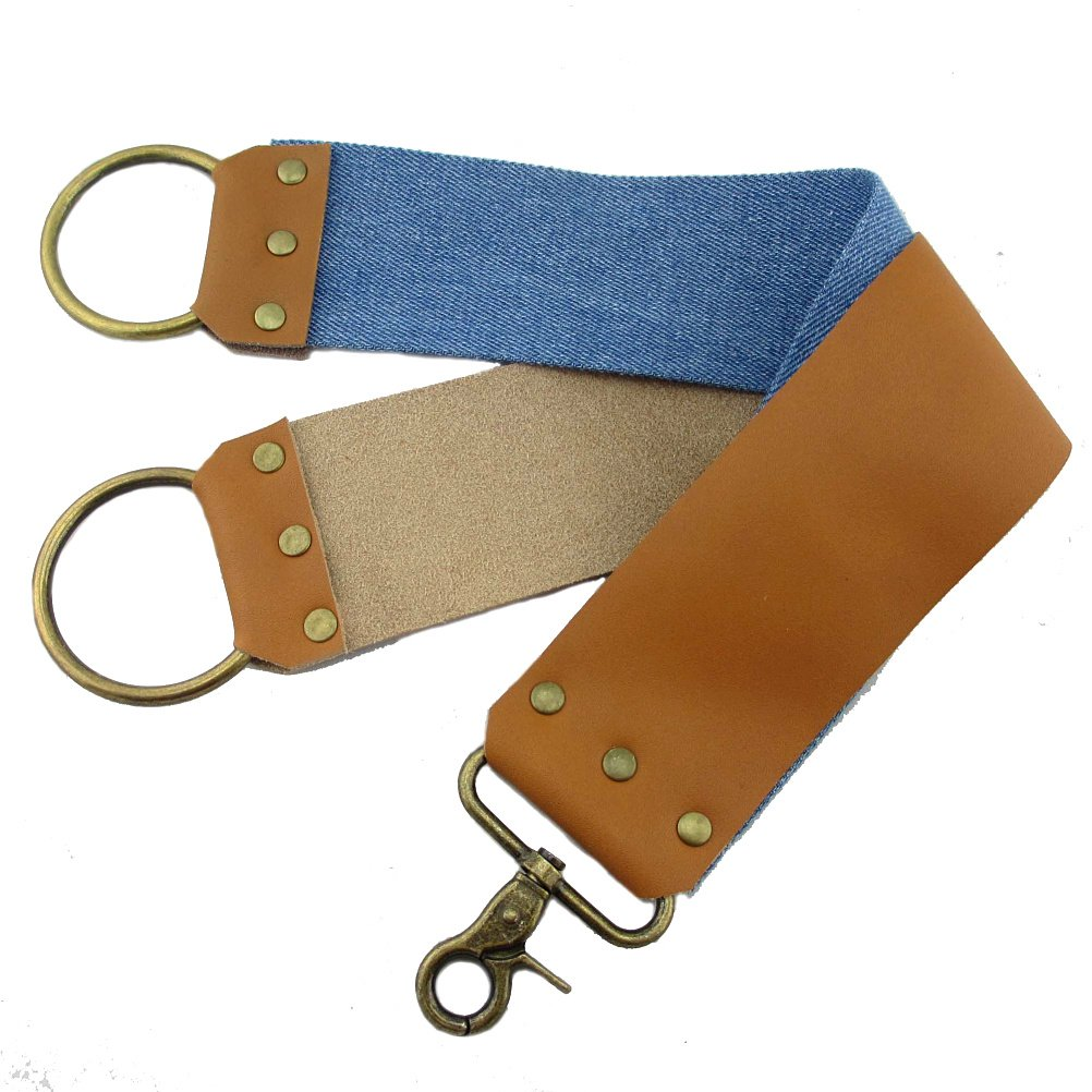 VIGSHAVING Leather and Canvas Sharpening Shaving Strop for Barber Hair Removal Straight Razor