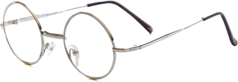 JOHN Lennon Vintage 60s Round Metal Frame Unisex Clear Lens Eye Glasses (Silver, Clear)