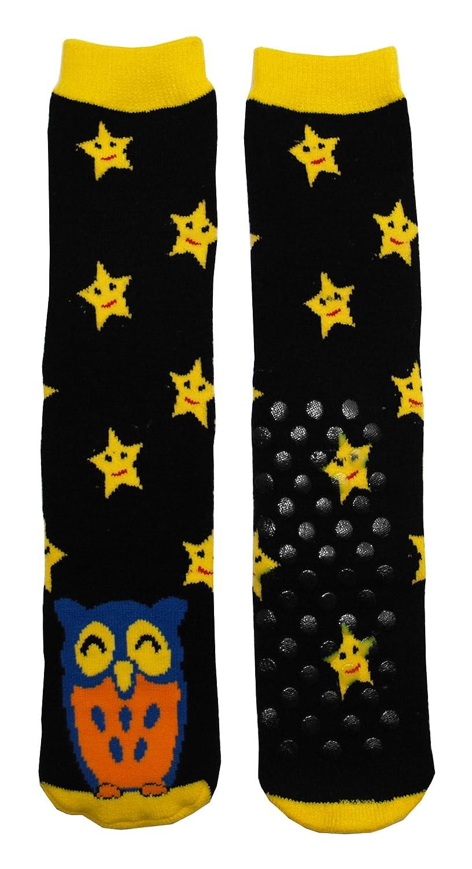 目新しさは管状ソックス フクロウ-ブラック W/黄色の星   B0047DKFJM