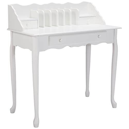 Monarch Specialties I 3103, Traditional Desk, Solid Wood, Antique White, 36