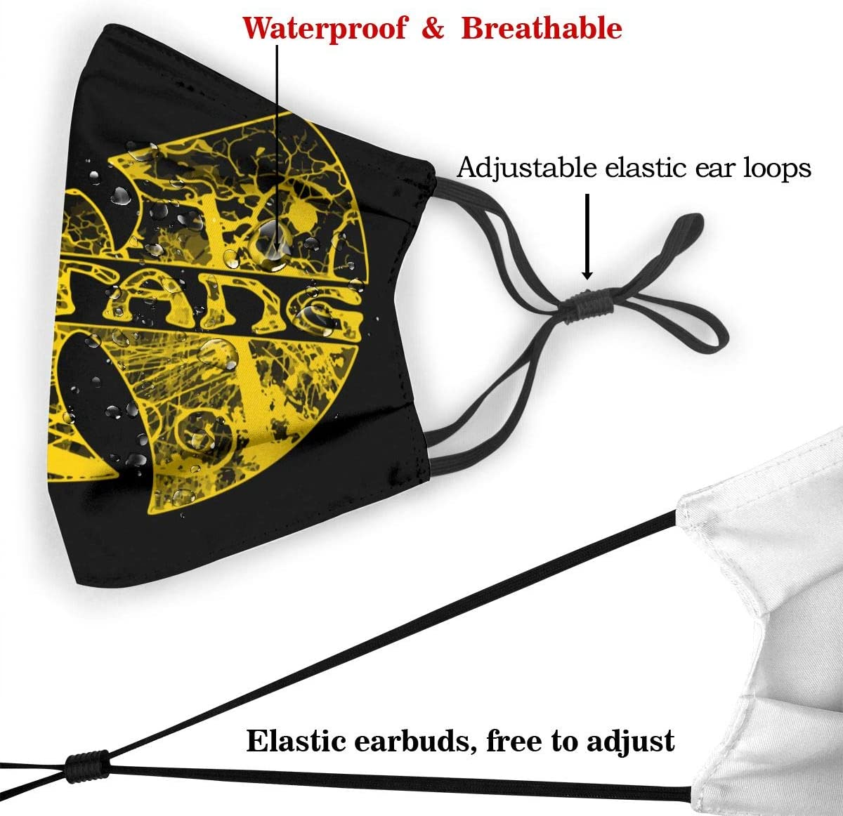 Wu Tang Clan Mouth cloth Mens Womens Adjustable With Carbon Filter Anti Dust Splash Proof