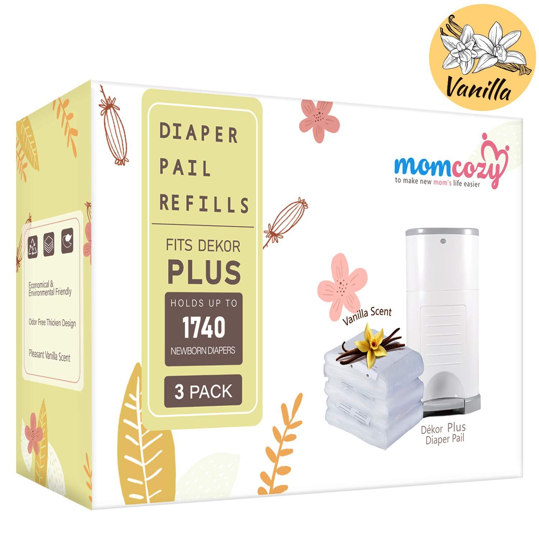 Momcozy Diaper Pail Refills Compatible For Dekor Plus 3 Pack Vanilla Scent Biodegradable Disposable Diaper Pail Liner For Dekor Plus Hold Up To 1740 Diapers