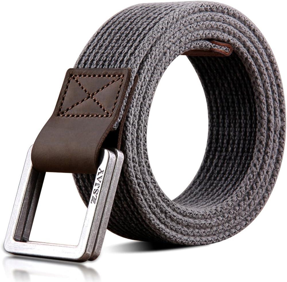 JIEJING Mens Canvas Belt,Leisure Double Ring Buckle Belt Youth Student Belt
