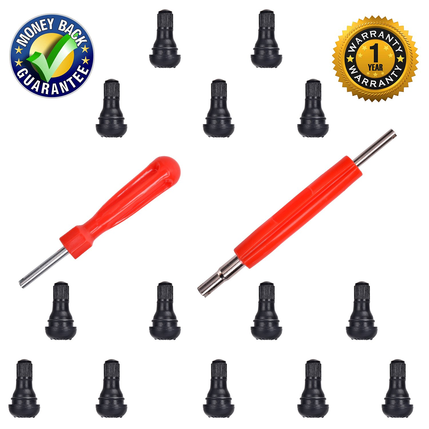 """DCFlat Snap-in Short Black Rubber Valve Stem (TR412) 14-Pack for Tubeless 0.453"""" Inch 11.5mm Rim Holes on Standard Vehicle Tires and 2 in 1 Set Dual Single Head Valve"""