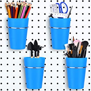 4 Set Pegboard Bins with Rings, Pegboard Metal Hooks Pegboard Cups Holder Pegboard Organizer Baskets for Home Office Organization Storage (Blue)