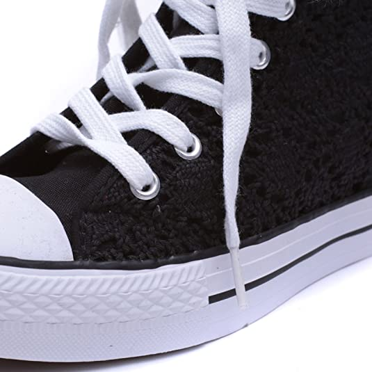 MForshop Scarpe Donna Sneakers Casual Zeppa Interna Ginnastica Pizzo Platform k9xx69b-09 - Nero, 39
