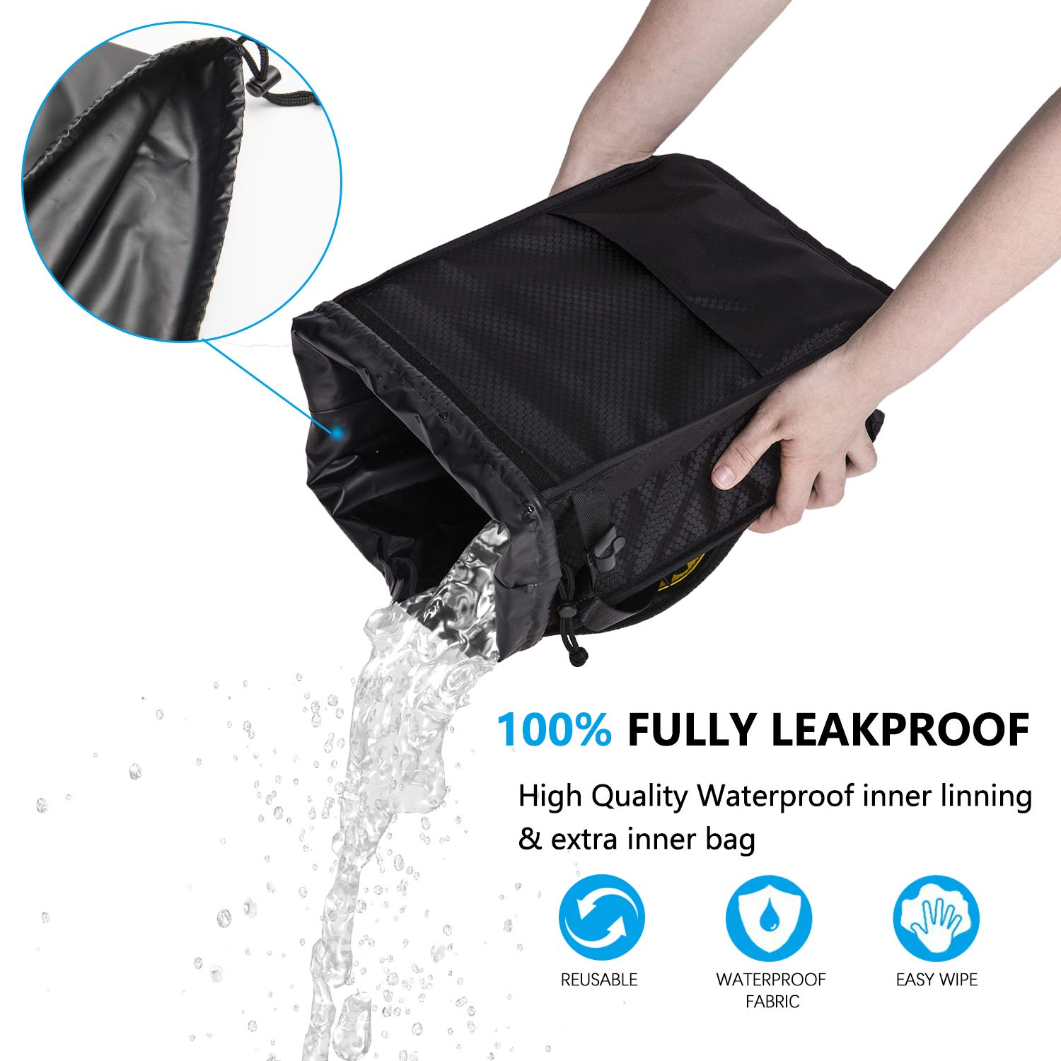 Sumworld Car Trash Can Hanging Automobile Garbage Bag with Lid and Storage Pockets Automotive Litter Container for Vehicle Car Seat Organizer